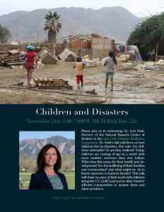 Lecture: Children and Disasters on Nov 21st